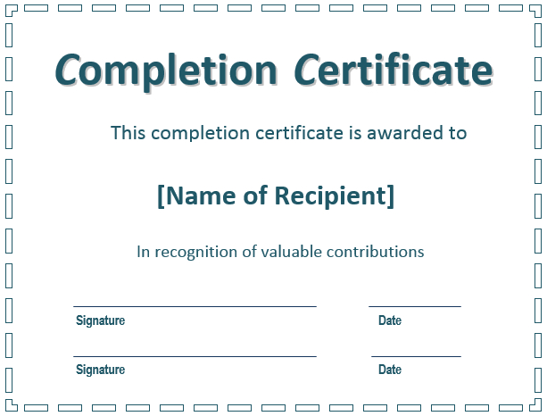Free Certificate Of Completion Templates (Word | Pdf) inside New Free Completion Certificate Templates For Word