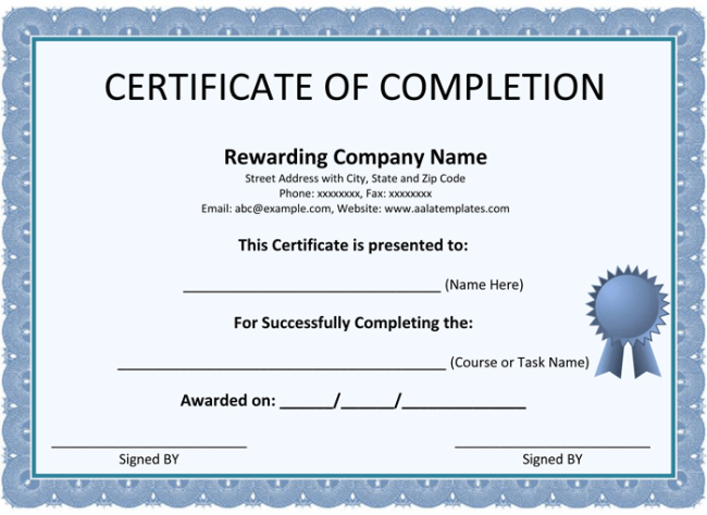 Free Certificate Of Completion Templates (Word | Pdf) intended for Unique Certificate Of Completion Word Template