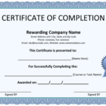Free Certificate Of Completion Templates (Word | Pdf) Regarding Unique Certificate Of Completion Free Template Word