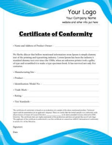 Free Certificate Of Conformity Templates   Free Certificate within Certificate Of Conformity Template Free