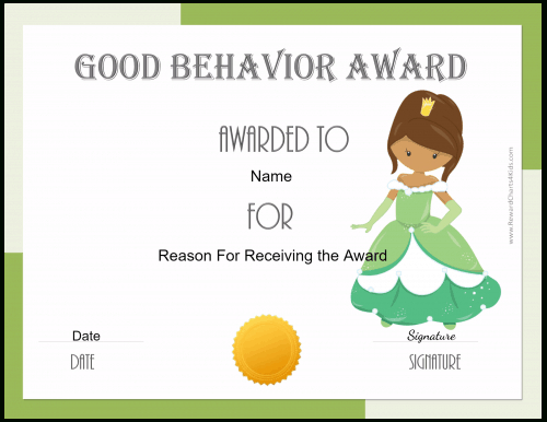 Free Certificate Of Good Behavior | Customize & Print pertaining to New Good Behaviour Certificate Template 10 Kids Awards