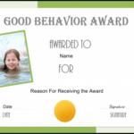 Free Certificate Of Good Behavior | Customize & Print With Regard To New Good Behaviour Certificate Template 10 Kids Awards