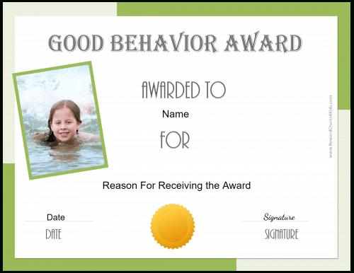 Free Certificate Of Good Behavior   Customize & Print with regard to New Good Behaviour Certificate Template 10 Kids Awards