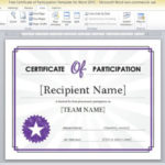 Free Certificate Of Participation Template For Word 2013 For Fresh Certificate Of Participation Word Template