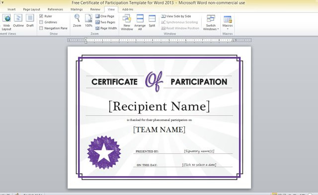 Free Certificate Of Participation Template For Word 2013 in Fresh Word 2013 Certificate Template