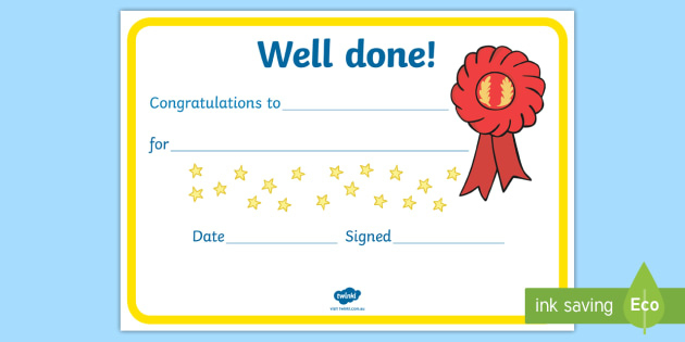 Free! - Certificate Template To Download - Well Done Certificate pertaining to Well Done Certificate Template