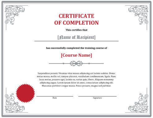Free Certificate Templatehloom   Free Certificate intended for Class Completion Certificate Template