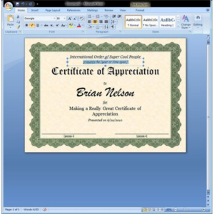 Free Certificate Templates For Word 2007 (4) – Templates regarding Fresh Free Certificate Templates For Word 2007