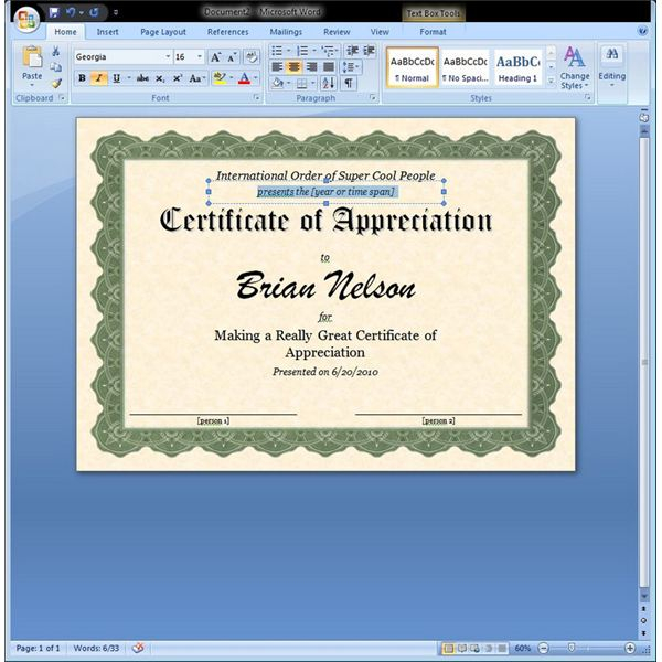 Free Certificate Templates For Word 2007 (4) - Templates regarding Fresh Free Certificate Templates For Word 2007