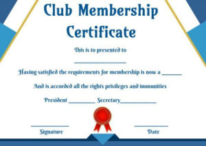 Free Club Membership- Certificate Templates | Certificate with regard to Membership Certificate Template Free 20 New Designs