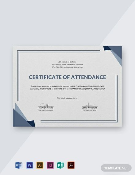 Free Conference Attendance Certificate Template - Word (Doc for Certificate Of Attendance Conference Template