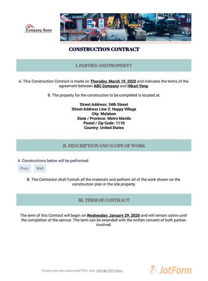 Free Construction Contract Template - Pdf Templates | Jotform pertaining to Quality Construction Certificate Template 10 Docs Free