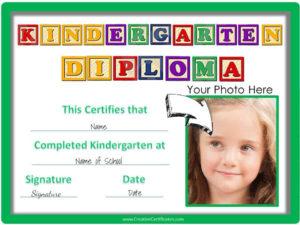 Free Custom Kindergarten Graduation Certificates throughout Printable Kindergarten Diploma Certificate
