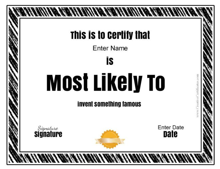 "Free Customizable ""Most Likely To Awards"" With Regard To throughout Most Likely To Certificate Template Free"