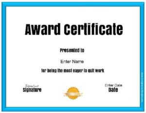 Free Customizable & Printable Funny Awards inside Free Funny Award Certificate Templates For Word