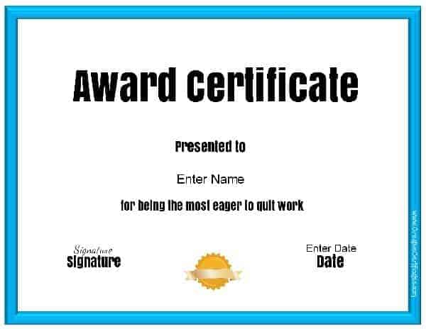 Free Customizable & Printable Funny Awards intended for Quality Free Printable Funny Certificate Templates