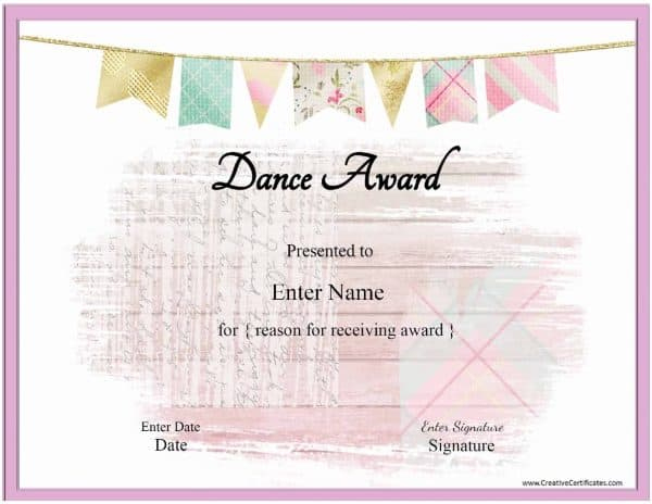 Free Dance Certificate Template - Customizable And Printable Pertaining To Quality Dance Award Certificate Templates
