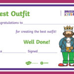 Free! – Dressedthe Kids Day Best Outfit Certificate Intended For Fresh Best Dressed Certificate