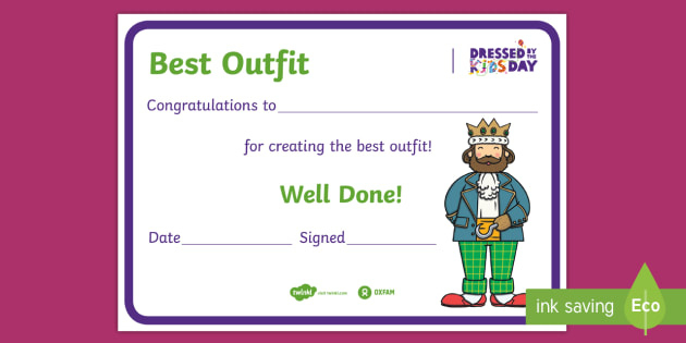 Free! - Dressedthe Kids Day Best Outfit Certificate intended for Fresh Best Dressed Certificate