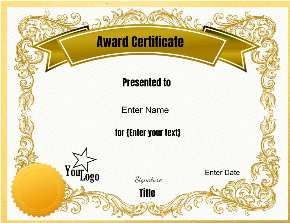 Free Editable Certificate Template Customize Online Print At intended for Free Printable Blank Award Certificate Templates
