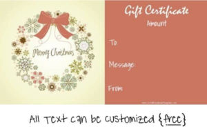 Free Editable Christmas Gift Certificate Template | 23 Designs pertaining to Fresh Homemade Christmas Gift Certificates Templates