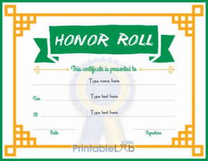 Free Editable Honor Roll Certificate Design In Green Haze pertaining to Certificate Of Honor Roll Free Templates
