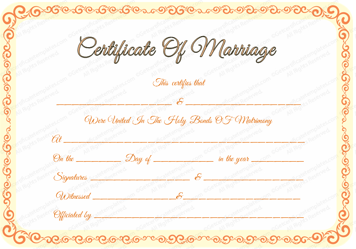 Free Editable Marriage Certificate Template regarding Quality Marriage Certificate Editable Template