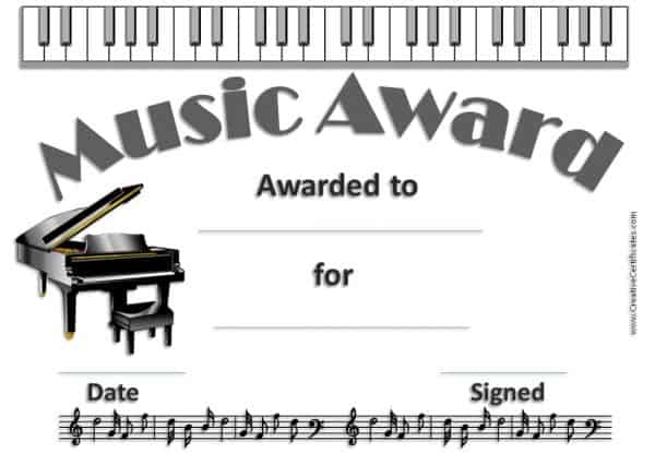 Free Editable Music Certificate Template - Free And Customizable regarding Quality Piano Certificate Template Free Printable