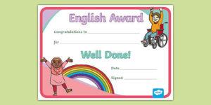 Free! – English Award Certificate inside Art Award Certificate Free Download 10 Concepts