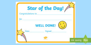 Free! – 👉 Star Of The Day Award Certificate with Star Award Certificate Template