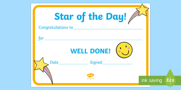 Free! - 👉 Star Of The Day Award Certificate with Star Award Certificate Template