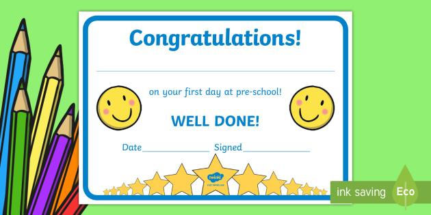 Free! - First Day Award Certificates (Kindergarten & Pre-School) regarding Fresh First Day Of School Certificate Templates Free
