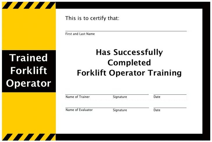 Free Forklift Certification Card Template Download Operator inside Forklift Certification Card Template