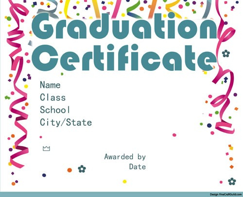 Free Graduation Certificate Templates within Free Printable Graduation Certificate Templates