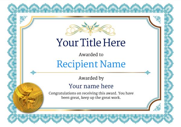 Free Gymnastics (Pommel) Certificate Templates - Add Badges in Gymnastics Certificate Template