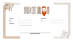Free Haircut Certificate Template 3 | Free Haircut intended for Barber Shop Certificate Free Printable 2020 Designs