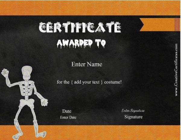Free Halloween Costume Awards   Customize Online   Instant inside Fresh Halloween Costume Certificates 7 Ideas Free