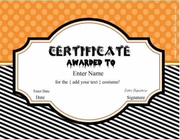 Free Halloween Costume Awards | Customize Online | Instant regarding Best Costume Certificate Printable Free 9 Awards