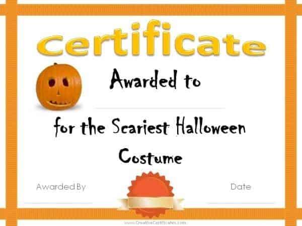 Free Halloween Costume Awards   Customize Online   Instant regarding Fresh Halloween Costume Certificates 7 Ideas Free