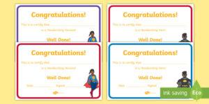 Free! – Handwriting Hero Certificate (Teacher Made) throughout Handwriting Award Certificate Printable