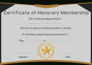 Free Honorary Life Membership Certificate Template for Life Membership Certificate Templates
