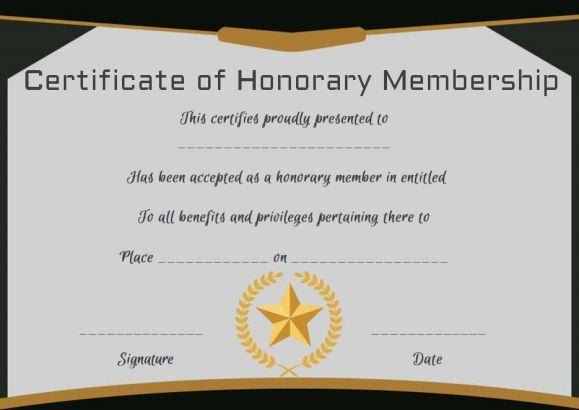 Free Honorary Life Membership Certificate Template for New Member Certificate Template