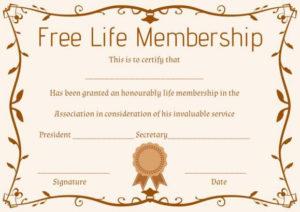 Free Life Membership Certificate Template | Free Certificate for Life Membership Certificate Templates