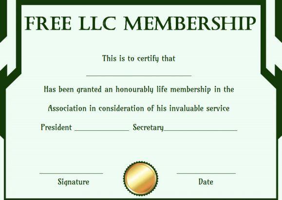 Free Llc Membership Certificate Template | Certificate intended for Life Membership Certificate Templates