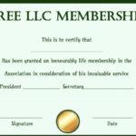 Free Llc Membership Certificate Template | Certificate with Best Llc Membership Certificate Template