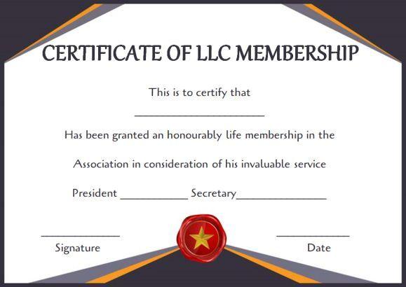Free Llc Membership Certificate Templates | Certificate in Llc Membership Certificate Template Word