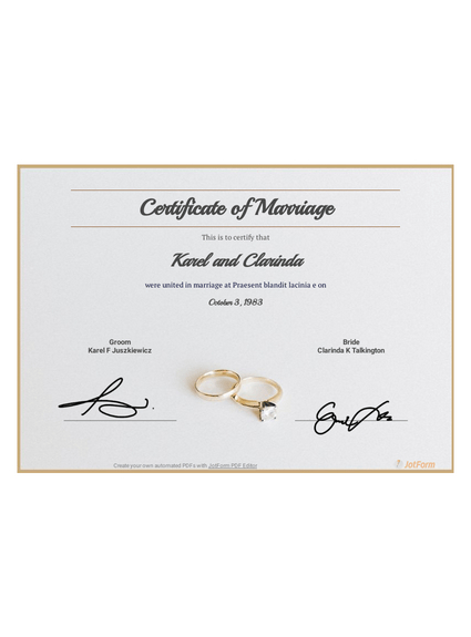 Free Marriage Certificate Template - Pdf Templates | Jotform intended for Marriage Certificate Editable Templates