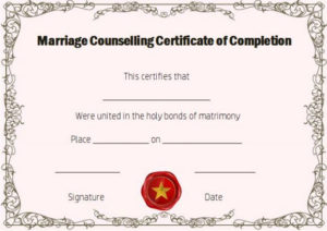 Free Marriage Counseling Certificate Of Completion Template in Marriage Counseling Certificate Template