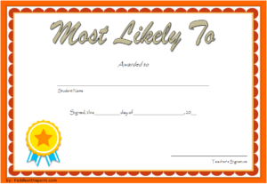 Free Most Likely To Certificate Template 4 | Certificate throughout Most Likely To Certificate Template Free