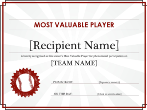 Free Most Valuable Player Award Certificate (Editable Title inside Quality Mvp Certificate Template